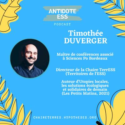 Les enjeux et les principes de l'ESS - Timothée Duverger - Chaire TerrESS & Auteur d'Utopies locales cover