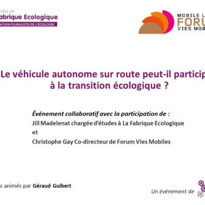 Les études de La Fabrique Ecologique / Le véhicule autonome sur route peut-il participer à la transition écologique ? cover