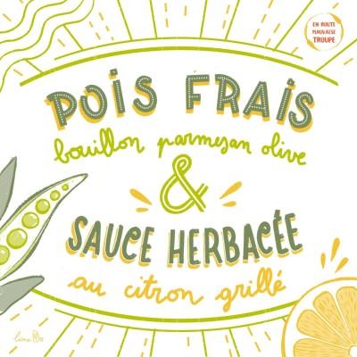 Thumbnail Image Pois frais, bouillon parmesan olive et sauce herbacée au citron grillé