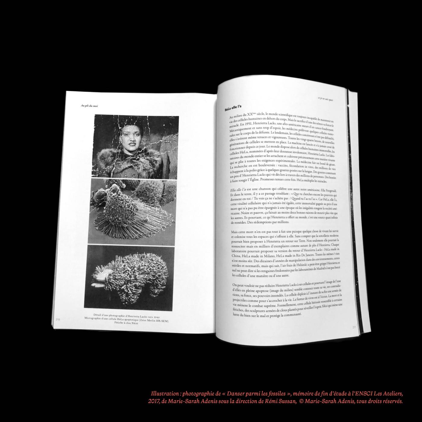 « HeLA Elle l'a », dans le chapitre « Au pli de moi », Danser parmi les fossiles, Marie-Sarah Adenis