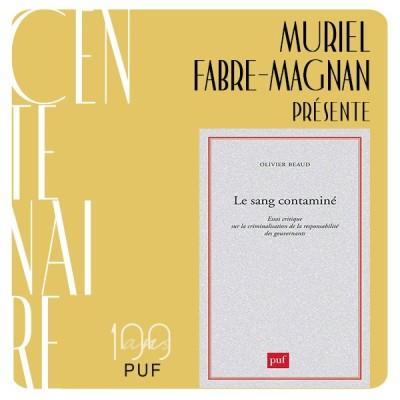 """Muriel Fabre-Magnan présente """"Le sang contaminé"""" d'Olivier Beaud cover"""