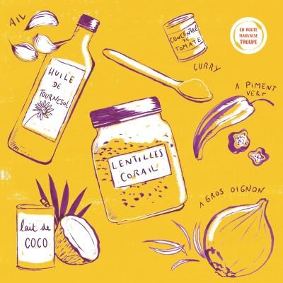 Dhal de lentilles corail sauce curry coco cover